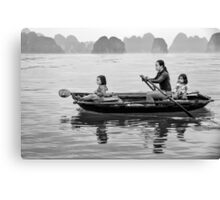 Rowing in Halong Bay Canvas Print