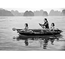 Rowing in Halong Bay Photographic Print