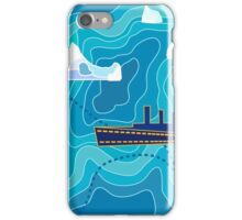 Seamless vector pattern with ocean waves, ship and icebergs. iPhone Case/Skin