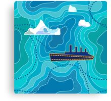 Seamless vector pattern with ocean waves, ship and icebergs. Canvas Print