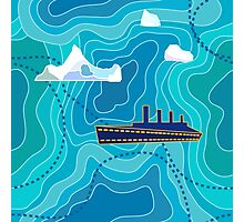 Seamless vector pattern with ocean waves, ship and icebergs. Photographic Print