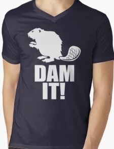 Dam It Beaver Mens V-Neck T-Shirt