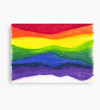 Colored pencil rainbow on textured paper Canvas Print