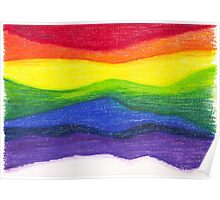Colored pencil rainbow on textured paper Poster