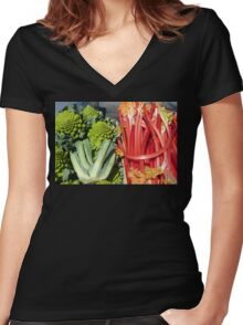 COLOURFUL VEGETABLES Women's Fitted V-Neck T-Shirt