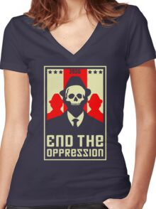 End The Oppression Women's Fitted V-Neck T-Shirt