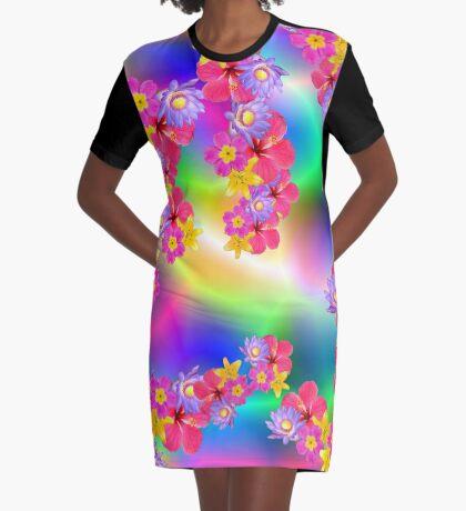 Mixed Flowers 2 Random Fill Pattern TyDy Graphic T-Shirt Dress