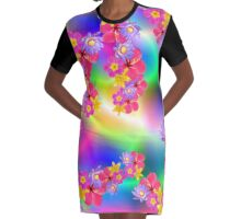 Mixed Flowers 2 Random Fill Pattern TyDy Graphic T-Shirt Dress