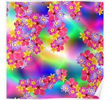 Mixed Flowers 2 Random Fill Pattern TyDy Poster