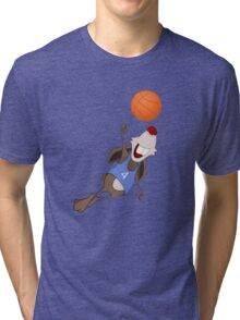 Funny rat with basketball Tri-blend T-Shirt