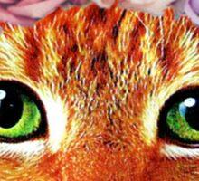Flower Crowned Orange Tabby Cat Sticker