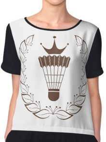 Silhouette badminton racket shuttle Chiffon Top