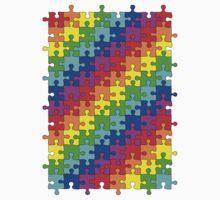 Jigsaw rainbow One Piece - Short Sleeve