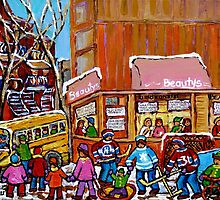 SCHOOL BUS AT BEAUTY'S RESTAURANT by Carole  Spandau