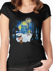 The Lion, The Doctor, and the Tardis (on Dark) Women's Fitted Scoop T-Shirt