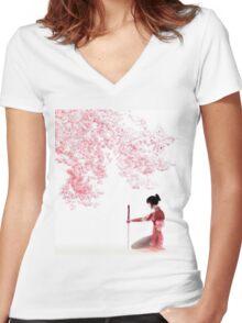 Samurai Girl Landscape Women's Fitted V-Neck T-Shirt