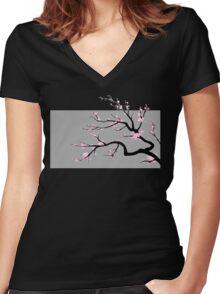 Sakura v2 - Adjusted for darker colors Women's Fitted V-Neck T-Shirt
