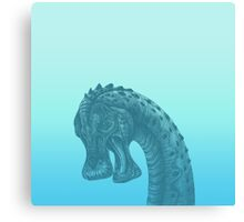 Cute Blue Geek Dinosaur  Canvas Print