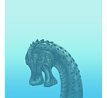 Cute Blue Geek Dinosaur  Photographic Print