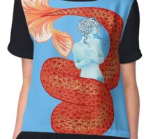 Red and Blue Mermaid Chiffon Top