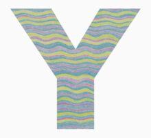 Letter Y Neon Wavy Stripe Pattern Monogram Initial One Piece - Long Sleeve