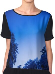 Blue Snow Covered Trees Chiffon Top