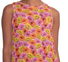 Floral repeating seamless pattern, orange, pink and yellow daisies Contrast Tank