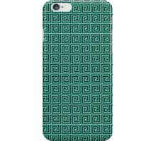 Tiffany Blue and Black Greek Key Interlocking Repeating Square Pattern iPhone Case/Skin