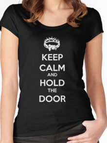 Keep Calm Hold the Door V1 Women's Fitted Scoop T-Shirt