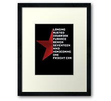 Code Comply Of Winter Soldier Framed Print