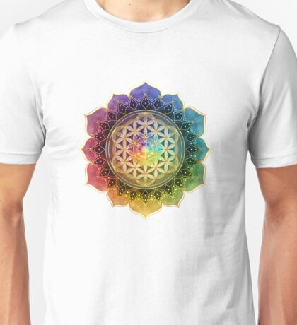 Rainbow Flower of Life with Lotus Unisex T-Shirt