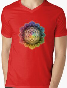 Rainbow Flower of Life with Lotus Mens V-Neck T-Shirt