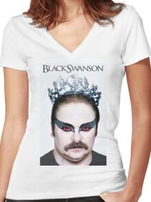 Black Swanson Women's Fitted V-Neck T-Shirt