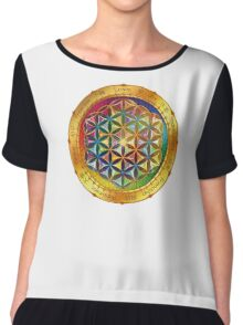 The Flower of Life - dark Chiffon Top