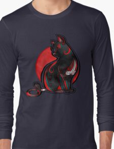 Artistic Abstract Black Cat with 3D effect Long Sleeve T-Shirt