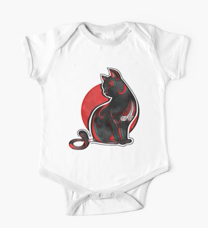 Artistic Abstract Black Cat with 3D effect One Piece - Short Sleeve