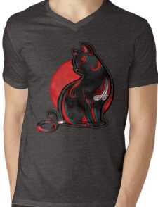 Artistic Abstract Black Cat with 3D effect Mens V-Neck T-Shirt