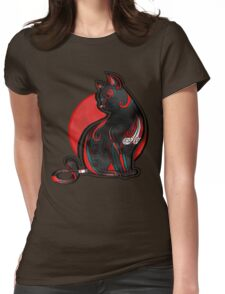 Artistic Abstract Black Cat with 3D effect Womens Fitted T-Shirt