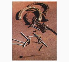 Old Rusty Horseshoes with nails One Piece - Short Sleeve