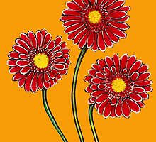 Three Pink Gerberas by YouBeaut Designs