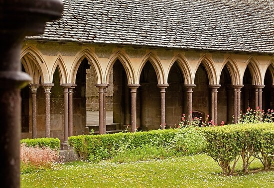 Arches of the Cloister at Mont St. Michel Normandy France by Buckwhite