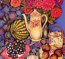 Zinnias, Fruit & Coffee Pot by YouBeaut Designs