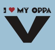 I HEART MY OPPA V - BLUE Kids Tee