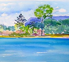 Tallebudgerra Creek with Springbrook  by Virginia McGowan