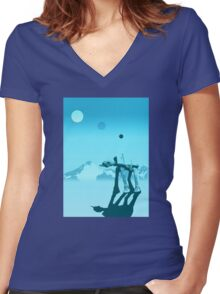 Snow walker Women's Fitted V-Neck T-Shirt