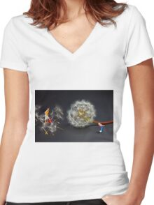 Naughty Girl Playing Dandelion Little People Big World Women's Fitted V-Neck T-Shirt
