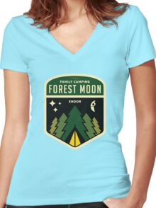 Forest Moon Camping Women's Fitted V-Neck T-Shirt