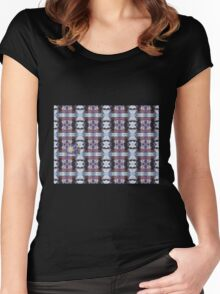Psychedelic Kalidoscopic Glitched Clematis Flower Women's Fitted Scoop T-Shirt