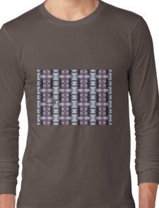 Psychedelic Kalidoscopic Glitched Clematis Flower Long Sleeve T-Shirt