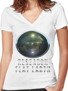 Research Flat Earth Women's Fitted V-Neck T-Shirt